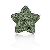 DoubleAccent Hair Jewellery Green Simulated Crystal Pink Centre Crystal Star Hair Barrettes,