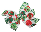 WD2U Girls Deluxe Chevron Ugly Christmas Sweater Party Hair Bow French Clip