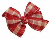 WD2U Girls Burgundy Red Country Plaid Christmas Hair Bow French Clip Barrette