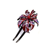 DoubleAccent Hair Jewellery Large Single Flower Simulated Crystal Hair Bun Stick, Red