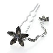 DoubleAccent Hair Jewellery Simulated Crystal Flower Dangle Bun Stick, Black