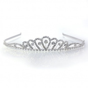 DoubleAccent Hair Jewellery Elegant Rhinestone Princess Tiara Clear Colour