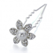 DoubleAccent Hair Jewellery Flower Bun Stick for Brides Clear Colour