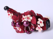 Gorgeous Flower Fabrics Ponytail Holder Banana Hair Clip with lovely bead