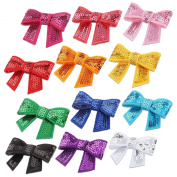 20pcs Assorted Colour Bling Bling Little Girl's Handmade Paillette Sequin Hair Bow Appliques Barrettes DIY Hair Clips Accessories for Kid Baby Girls
