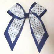 Large Bow with Sequin, Navy with Silver Sequin, Batch W1, Made in USA