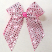 Large Sequin Bow, Hot Pink, Batch U1, French Clip, Made in the USA