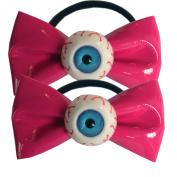 Kawaii Eyeball Hair Bow Bands Pink By Kreepsville 666