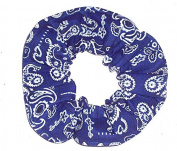 Blue Bandana Print Cotton Fabric Hair Scrunchie Handmade by Scrunchies by Sherry