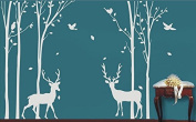 Big Birch Tree Wall Decals with Deer Birch Tree Wall Decal with Buck White Tree Wall Decal Nursery for Living Room Tree Wall Stickers