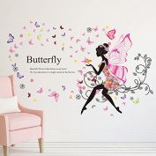 YUFENG Removable DIY PVC Wall Sticker Decor Flower Fairy Princess Butterfly Dancing Girls, Sweet Romance Flower Fairy Princess Moon Girl Wall Stickers Sitting Room Bedroom