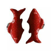 CSKB RED 2 PCS 60mm Koi Fish-shaped Ceramic Door Knob For Cupboard/Cabinet/Bathroom/Drawer Great Furniture Ornaments For Nursery/Baby Room 6 Colours Available