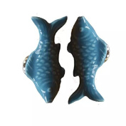 CSKB BLUE 2 PCS 60mm Koi Fish-shaped Ceramic Door Knob For Cupboard/Cabinet/Bathroom/Drawer Great Furniture Ornaments For Nursery/Baby Room 6 Colours Available