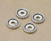 Luoyi 5pcs Flat Round Thai Silver Bead Spacers for DIY Jewellery, 10*2mm
