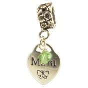 Mimi Heart with Peridot Crystal August Birthstone Small Sterling Silver Dangle Charm