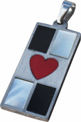 RaanPahMuang Hustler Card Deck of Hearts Stainless Steel Pendant Charm