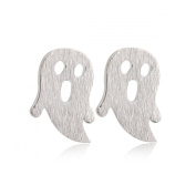 Shocked Ghost Stud Earrings Stainless Steel Earrings Halloween Silver Plating Fashion & Lovely & Stainless & Delicate for Girls & Women Jewellery Findings & Gifts & Personal Decoration