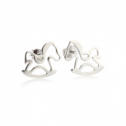 Hollow Rocking Horse Toy Pony Stud Earrings Sterling Silver 925 Fashion & Lovely & Stainless & Delicate for Girls & Women Jewellery Findings & Gifts & Personal Decoration