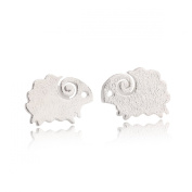 Little Sheep Stud Earrings Stainless Steel Earrings Free of Lead Silver Plating Fashion & Lovely & Stainless & Delicate for Girls & Women Jewellery Findings & Gifts & Personal Decoration