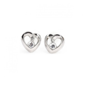 Hollow Heart Shaped Silver Stud Earrings Sterling Silver 925 with High-class Cubic Zirconia Fashion & Lovely & Stainless & Delicate for Girls & Women Jewellery Findings & Gifts & Personal Decoration