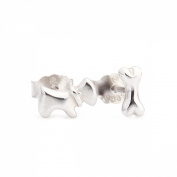 Cute Dog & bone Silver Stud Earrings Sterling Silver 925 Polishing Technique for Girls & Women Jewellery Findings & Gifts & Personal Decoration for Party/ Thanksgiving Day/ Christmas