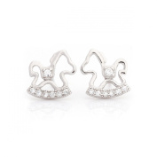 Hollow Rocking Horse Toy Pony Stud Earrings Sterling Silver 925 High-class Cubic Zirconia Fashion & Lovely & Stainless & Delicate for Girls & Women Jewellery Findings & Gifts & Personal Decoration