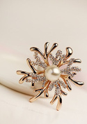 Fashion Jewellery Golden Tone Rhinestone Bling Antlers Spark Pearl Wave Brooch Pin