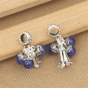 Luoyi 1pc Natural Lapis Lazuli Pendant, Sterling Silver Flower Dangle Bead Fit European Charm Bracelet