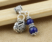 Luoyi 1pc Natural Lapis Lazuli Gourd Pendant, Sterling Silver Longevity Lock Dangle Bead Fit DIY Jewellery