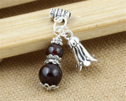 Luoyi 1pc Natural Garnet Pendant, Sterling Silver Flower Dangle Bead Fit DIY Jewellery