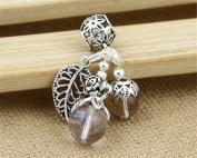 Luoyi 1pc Natural Ametrine Fruit Pendant, Sterling Silver Leaf Dangle Bead Fit European Charm Bracelet