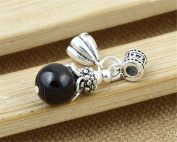 Luoyi 1pc Natural Garnet Pendant, Sterling Silver Dangle Bead, Lotus Charms, Fit DIY Jewellery