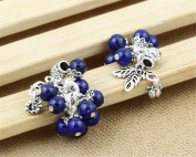 Luoyi 1pc Natural Lapis Lazuli Pendant, Sterling Silver Grape Dangle Bead Fit DIY Jewellery