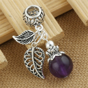 Luoyi 1pc Natural Amethyst, Sterling Silver Leaf Dangle Bead Fit Charm Bracelet