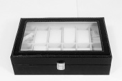 Black 8 Slot Pillow Leather Watch Jewellery Cufflinks Box Storage Organiser