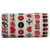 Love & Romance Themed Coloured Decorative Washi Masking Tape - For Valentine & Scrapbooking Decoration - Heart, Arrow, Rose, Lips, Red, White, Black - 6 Rolls (15mm x 10m) - By Washi.Design