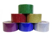 6 Colour Glitter Duct Style Tape Set (4.8cm x 4.6m per Colour) Classic Colours - Green, Gold, Red, Silver, Blue, and Purple