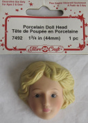 "Fibre Craft 1 PC. of PORCELAIN DOLL HEAD 44 MM (1-3/4"") - 1/2 HEAD Face w SANDY BLONDE Hair"
