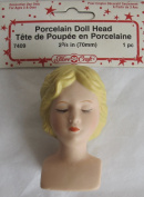 Fibre Craft PORCELAIN DOLL HEAD (Lady) 5.1cm - 1.9cm w 'CLOSED' EYES & Moulded BLONDE Hair