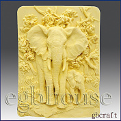 Fascinating Elephants -Detail of High Relief Sculpture - Soap/guest/polymer/clay/cold Porcelain Silicone Mould