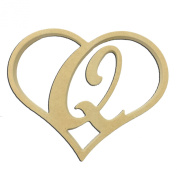 23cm Script Letter Q Insert for Home Heart Sign Unfinished DIY Wooden Craft Cutout to Sell Stacked