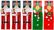 Wine Bottle Gift Bags, Santa with Cap and Sweater with Scarves 5-pc Set
