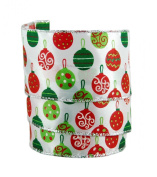 Festive Christmas Ornaments Sheer Wired Gift Wrap Ribbon #100cm - 6.4cm X 10yds