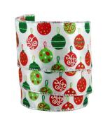 Festive Christmas Ornaments Sheer Wired Gift Wrap Ribbon #100cm - 6.4cm X 10yds