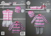 King Cole Chunky Knitting Pattern Babys Cardigan Cape Style Sweater & Hat