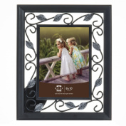 Prinz Hawthorne Black Solid Wood Frame with Antique Silver Metal Accents, 20cm by 25cm
