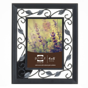 Prinz Hawthorne Black Solid Wood Frame with Antique Silver Metal Accents, 10cm by 15cm