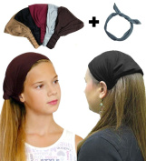 Exquisite Pack-5 Solid,Dark,Wide Headbands With Grey Wire Headband-CoverYourHair®