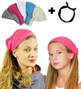 Exquisite Pack- 5 Solid,Light,Wide Headbands With Black Wire Headband-CoverYourHair®