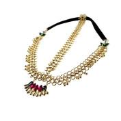 Pandahall 1 Pcs New Design Women's Luxury Headband Indian Style Headbands, Princess Tiara Iron chain Headbands with Water Drop Resin Beads and Elastic Cord, Golden, 160mm